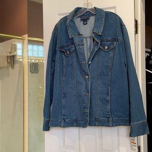 3x charter club long sleeve denim jacket NWT